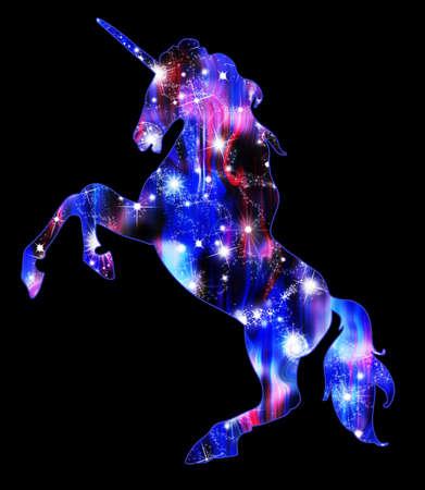 Icono de la silueta del unicornio con el arco iris Foto de archivo - 74336196
