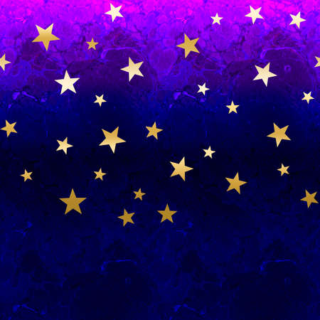 Abstract background for design. Purple watercolor. Golden stars