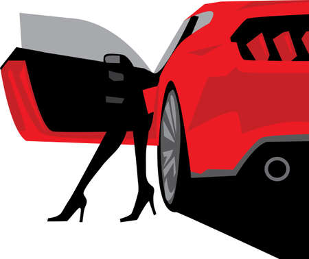 Luxury fashion woman silhouette with car