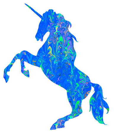 Unicorn silhouette icon logo with frozen pattern