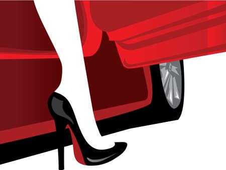 luxo: Mulher de moda de luxo com uma silhueta de automóvel