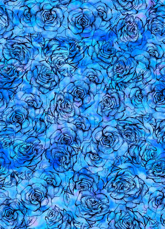 Rose Flower sketch bouquet seamless pattern