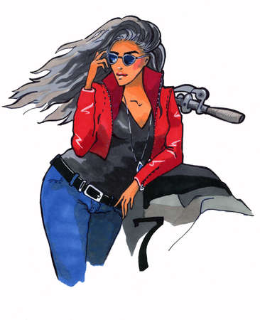 Illustration of beautiful woman with motorcycle