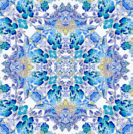 mixedmedia: Floral pattern with blue flowers Stock Photo
