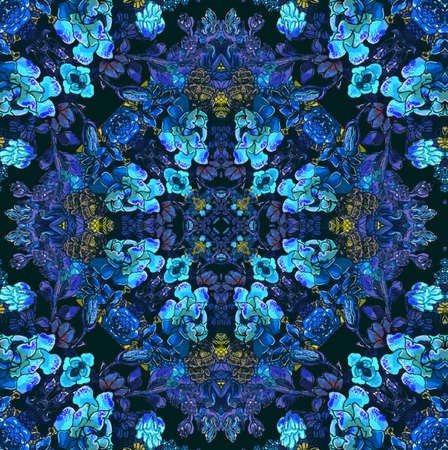 Floral pattern with blue flowers Stock Photo