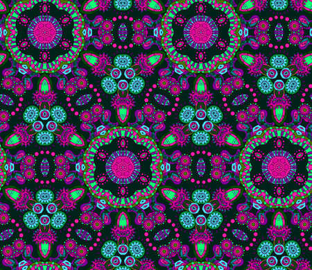 pattern: Seamless multicolor pattern with oriental mandalas. Hippie mandala pattern. Kaleidoscope elements. Boho chic style. Fabric, wallpaper or wrap print