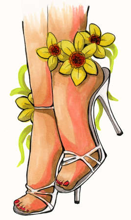 Illustration of beautiful woman legs with flower. Hand drawing sketch