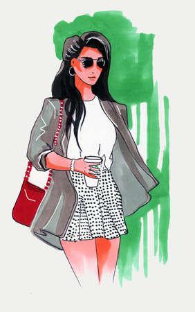 Fashion Illustration of beautiful woman with coffee