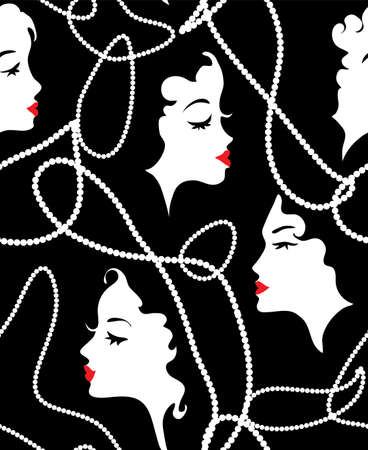 Fashion retro girl seamless pattern
