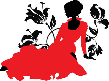 Elegant graphic silhouette of a woman