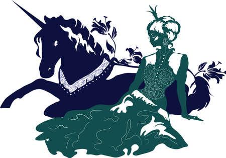 아름다운 머리카락과 왕관과 꽃 무늬 유니콘이있는 매력적인 공주 실루엣