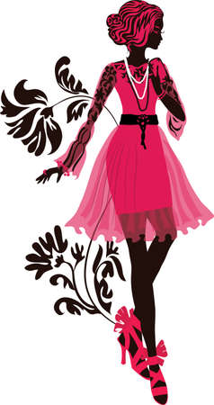 nice girls: Stylish fashion woman silhouette