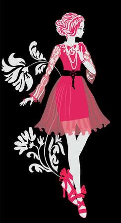 hair style: Stylish fashion woman silhouette