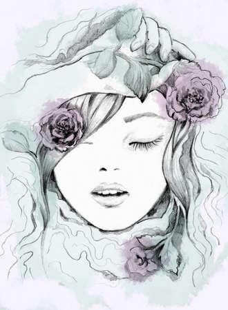 Fashion watercolor Illustration of woman. Spring time Фото со стока
