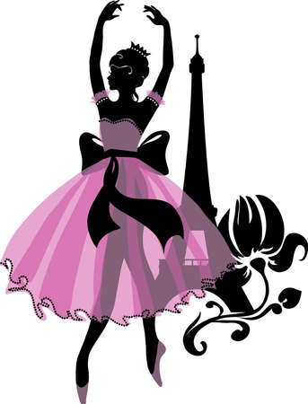 Graphic silhouette of a ballerina woman. Isabelle series Stock Photo
