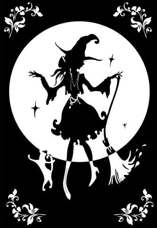 Dancing Witch with broom and cat. In big hat. Silhouette vector illustration