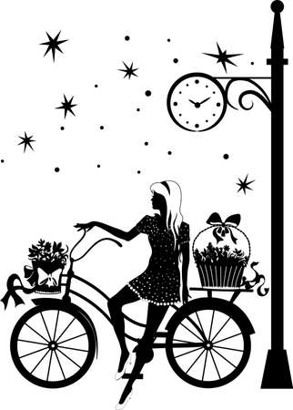 Elegant beautiful girl on a bicycle Stock Vector - 89500098
