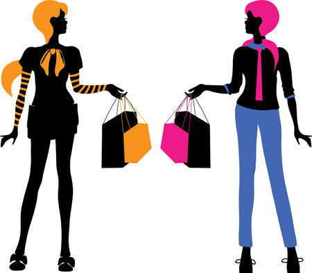 Fashion bright women shopping silhouettes isolated on white background. Elegant style vector illustration for magazine and sites Banco de Imagens