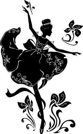 Graphic silhouette of a ballerina woman. Illustration