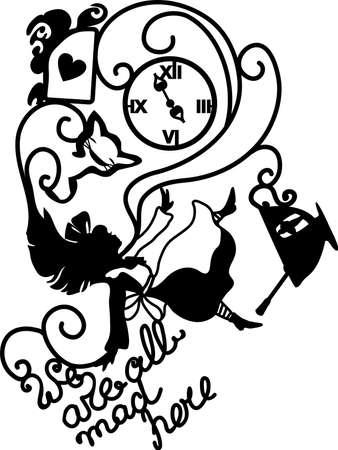 Alicia en el país de las maravillas ilustración vectorial. Todos estamos locos aquí. Fantasía elegante ilustración para café, menú, tarjeta, libro.