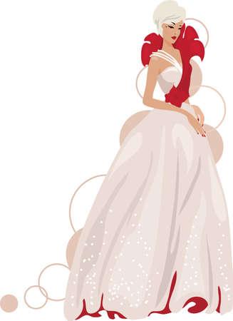 Elegant bride with rose decoration. Fashion model vector illustration.