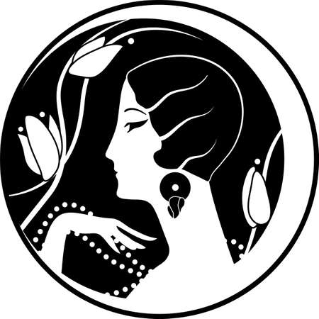 Graphic silhouette of a art deco woman 向量圖像