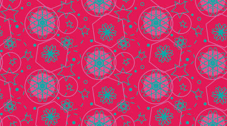 Seamless pattern with blue circles, atoms and stars, canted striped lines