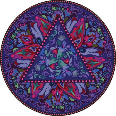 Seamless multicolor pattern with oriental mandala. Hippie mandala pattern. Kaleidoscope elements. Fabric, wallpaper or wrap print