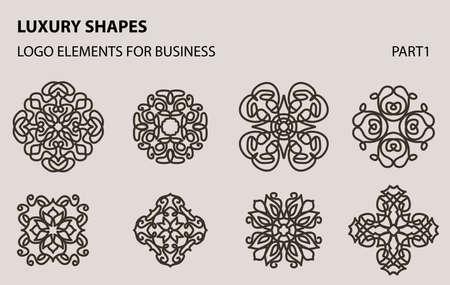 Set of universal floral minimal geometric icon. 일러스트