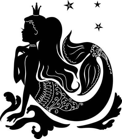 Silhouet zeemeermin zittend op de golven. Geïsoleerde figuur van meisje uit sprookje Vector Illustratie