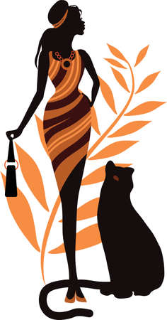 Beautiful girl with a panther. Fashion woman concept