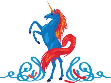 Unicorn silhouette icon with tail and mane.