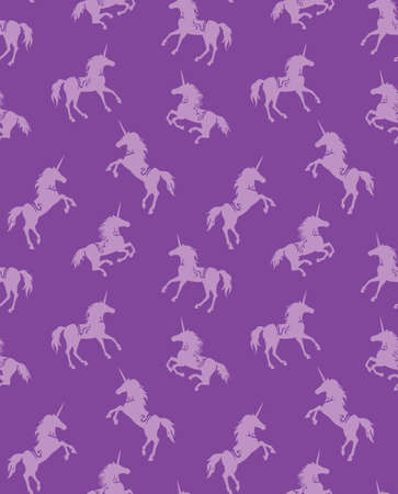 Lilac unicorn. Vector silhouettes. Mythology creature Ilustrace