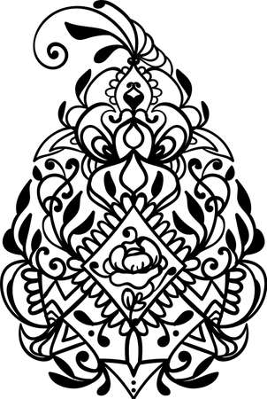 Silhouette décorative pour couper la carte, la porte, la porte, la fenêtre. Conception décorative au henné. Idée de tatouage. Coupe au laser. Style dentelle. Illustration vectorielle Vecteurs
