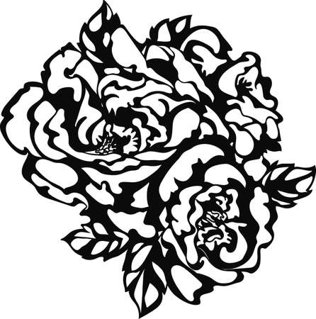 Flower rose sketch hand drawing for fashion trendy tattoo design, laser cut. Stylish floral icon Stock Illustratie