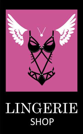 Lingerie luxury style tag background. Stylish design for underwear shop. Illustration