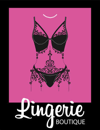 Lingerie luxury style tag background. Stylish design for underwear shop.