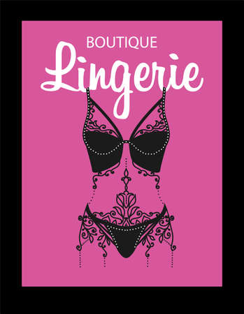 Lingerie luxury style tag. Stylish design for underwear shop.