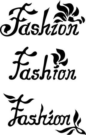 Beautiful flourish words fashion. Flame letters stylish design. Luxury logotypes with flowers