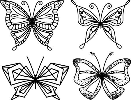 Silhouette butterfly collection. Trendy geometric design. Graphic style for laser cutting