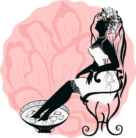Silueta de mujer en proceso de relajación de piernas. Ilustración vectorial con estilo. Diseño de lujo.