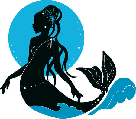 Beautiful young mermaid woman with beads and moon fashion silhouette. Book magazine cartoon illustration, fashion artwork, t shirt print Banque d'images - 124233089