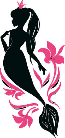 Beautiful young mermaid with crown and flower fashion silhouette. Book magazine cartoon illustration, fashion artwork, t shirt print