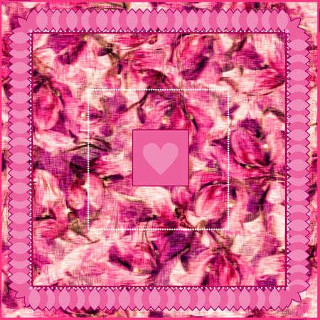 Boho chic digital pattern of floral motifs for scarf. Flourish pink elements