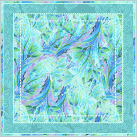 Boho chic digital pattern of floral motifs for scarf. Flourish tirquoise elements