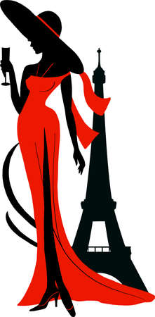 Silhouette of woman in long dress and big hat with wineglass. Stylish fashion illustration