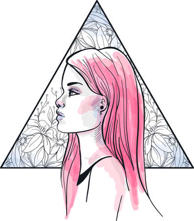 Fashion vector illustration. Head of a young girl with pink long hair, on triangle floral background Ilustracja