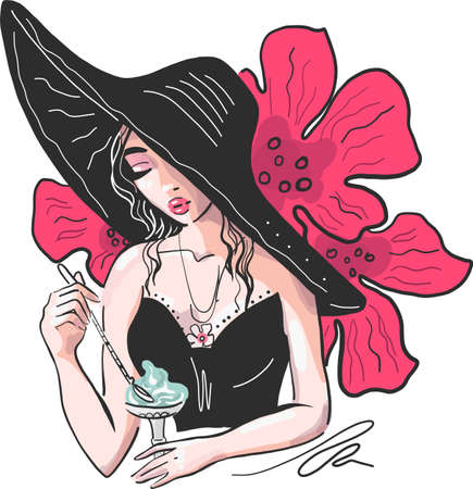 Head of a sweet lady with light long hair, big hat in fashion black top with ice cream  イラスト・ベクター素材