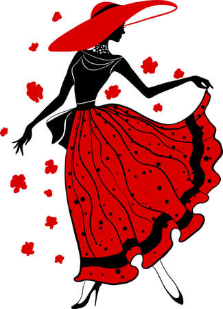 Retro woman in hat red and black silhouette with flowers. Fashion stylish illustration