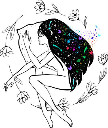 Charming sleeping wild girl with long hair, a stars and space